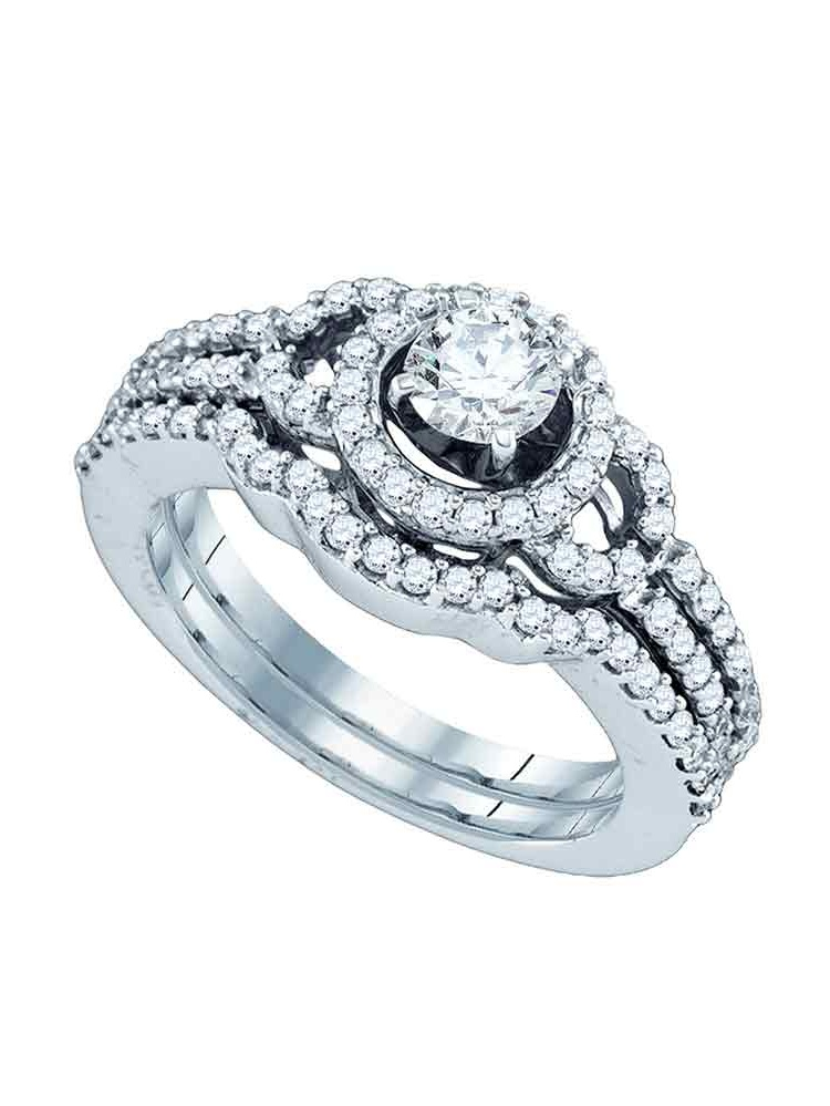 14kt White Gold Womens Natural Diamond Round Halo Bridal Wedding Engagement Ring Band Set (1.00 cttw.) size- 5.5 by