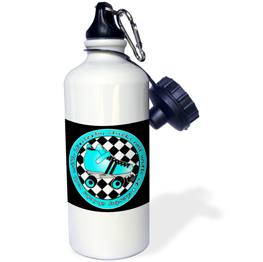 3dRose Derby Chicks Roll With It Aqua Blue Roller Skate and White, Sports Water Bottle, 21oz by Supplier Generic