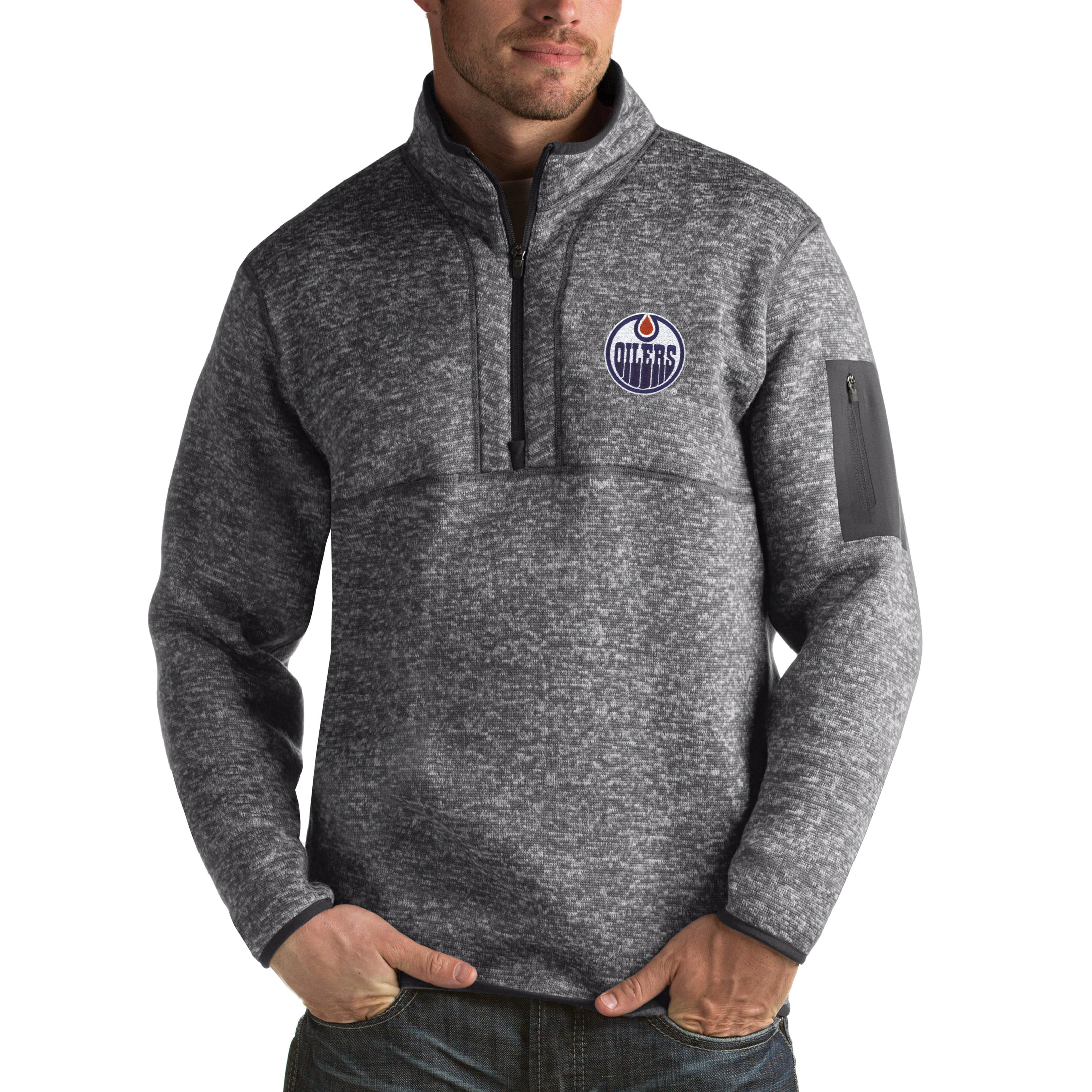 Edmonton Oilers Antigua Fortune 1/2-Zip Pullover Jacket - Charcoal