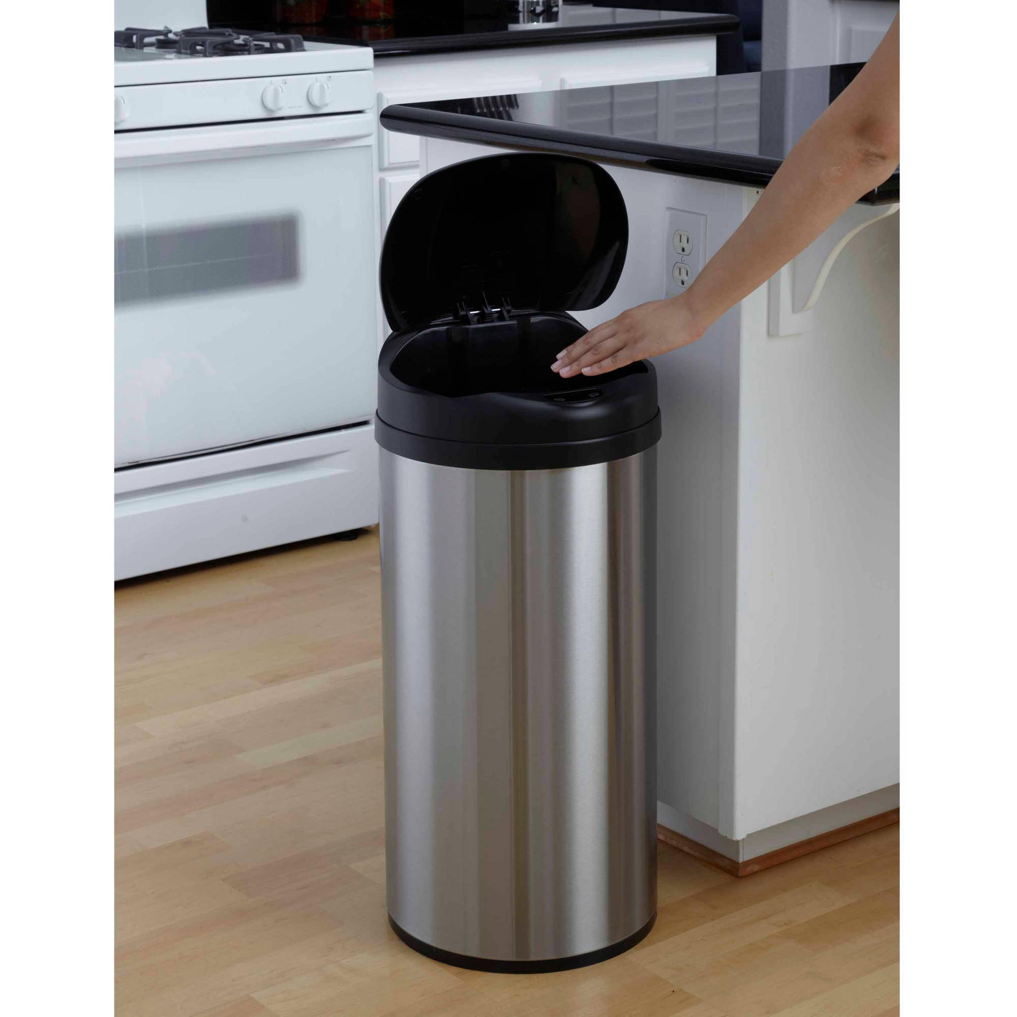 nine stars 13gallon round sensor trashcan stainless steel walmartcom