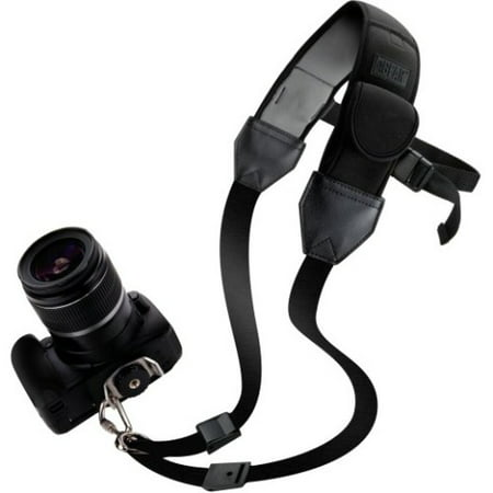 USA Gear Quick Access Sling Shoulder Neck Strap with Comfortable Padded Neoprene and Accessory Pockets - Works With Sony, Nikon, Canon, Panasonic and More