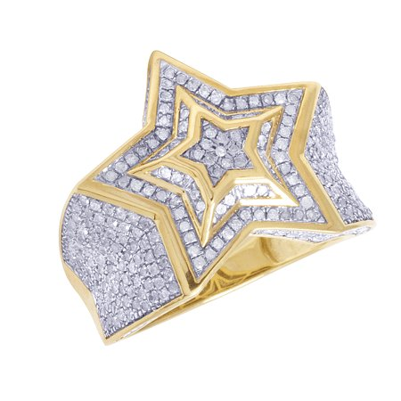 Diamond Pinky Ring - Mens 10K Yellow Gold Diamond Super Star Iced Pinky Ring 1.5CT