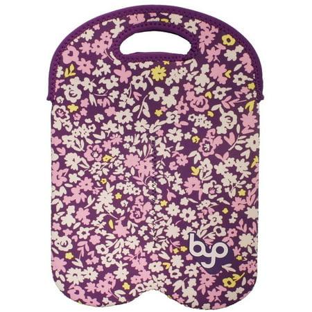 Byo by Built NY Violet Ditzy Floral Neoprene Wine/Water Bottle - Neoprene Wine Bag