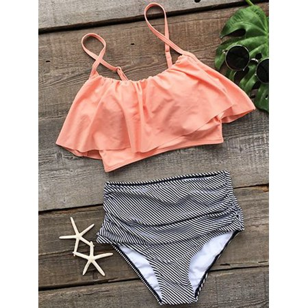 CJCMALL Swimwear Women High Waist Triangle Bikini Set Bandage Push-Up Swimsuit Bathing,Orange ()