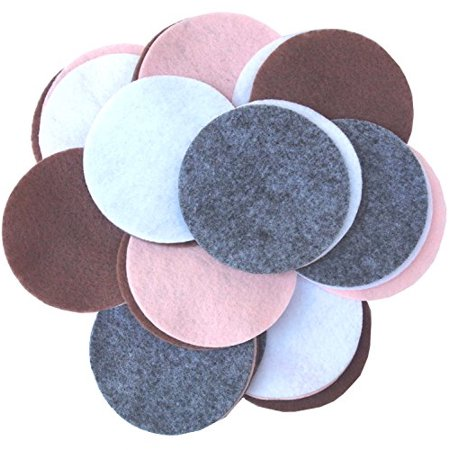 Playfully Ever After 4 Inch 16pc Felt Circles Color Combo Pack with Light Pink, Charcoal Gray, White, Cocoa Brown - image 1 of 1