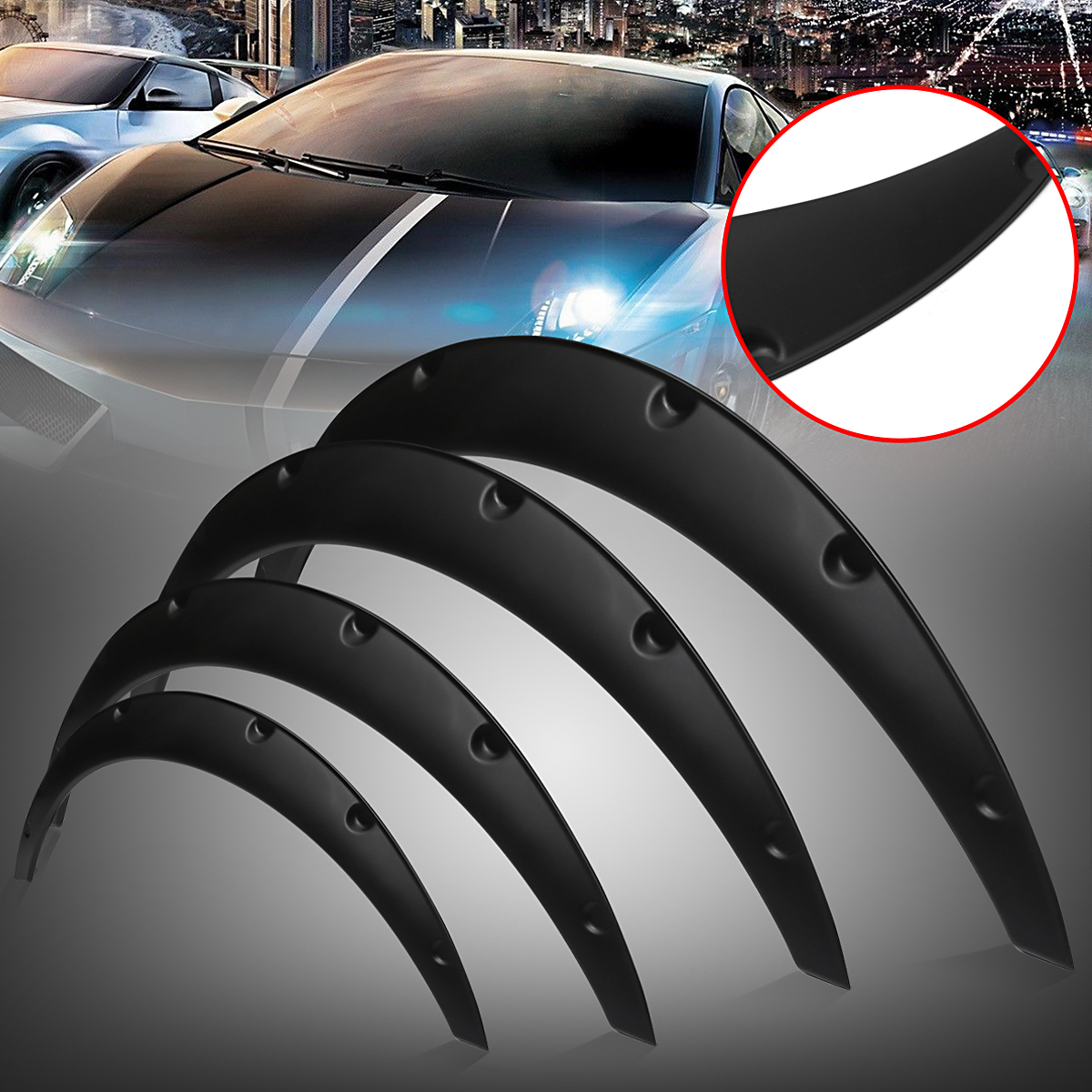 Wheel Fender Flares 4pcs Car SUV Universal Mudguards Flares Arches Wheel Eyebrow Protector Anti-scratch