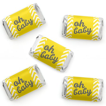Hello Little One - Yellow and Gray - Mini Candy Bar Wrapper Stickers - Neutral Baby Shower Small Favors - 40 Count