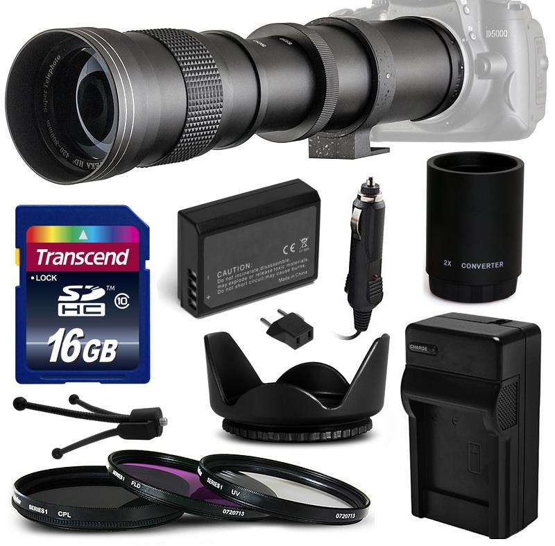 Opteka 420mm-1600mm Telephoto Lens Bundle for Canon 7D 5D...
