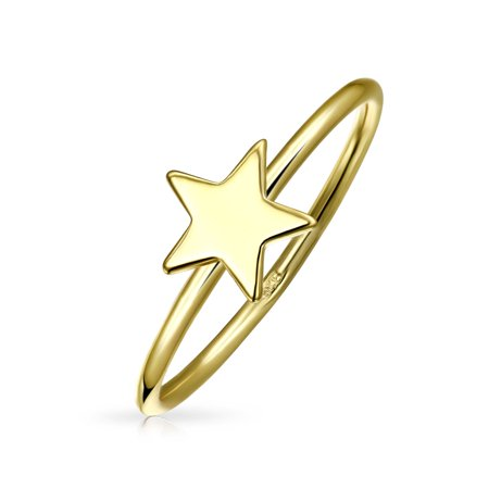Minimalist Simple Midi Knuckle Thin 1MM Band Stackable Celestial Patriotic Star Ring 14K Gold Plated 925 Sterling - Celestial Ring