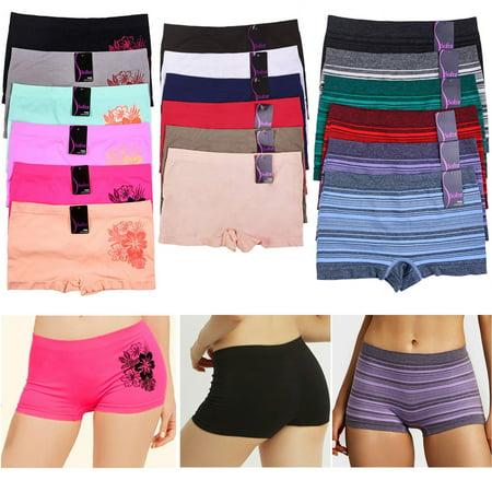 - 6 Pack Seamless Boyshorts Womens Underwear Lot Booty Panties Boxer Brief Spandex