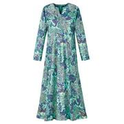 Elegant Paisley Floral Design Zip Front Robe - Side Pockets, Long Sleeve, V-Neck