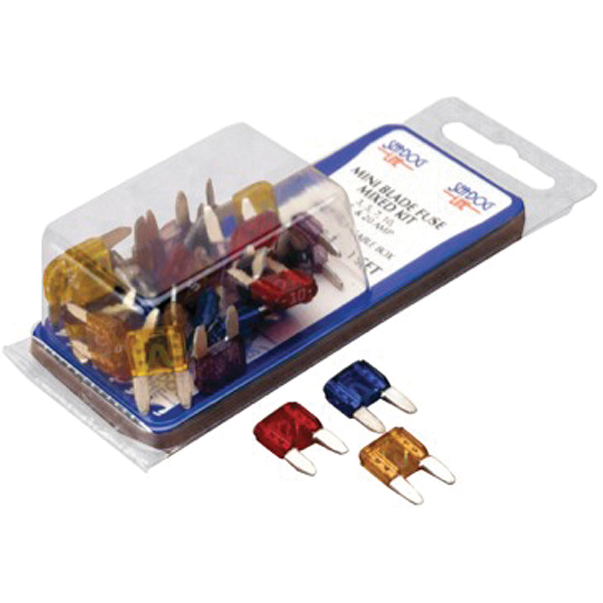 Sea Dog ATM Mini Blade Styled Mixed Fuse Kit, Contains 5 each of 3, 5, 7.5, 10, 15 and 20 Amp Fuses