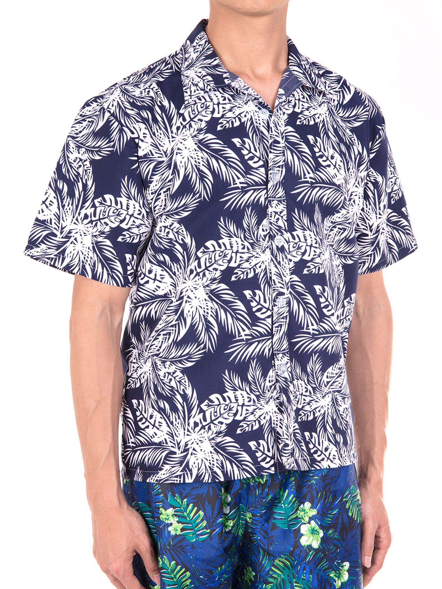 EELa Mens Short Sleeve Printed Floral Flower Casual Button Down Shirt Summer Hawaiian