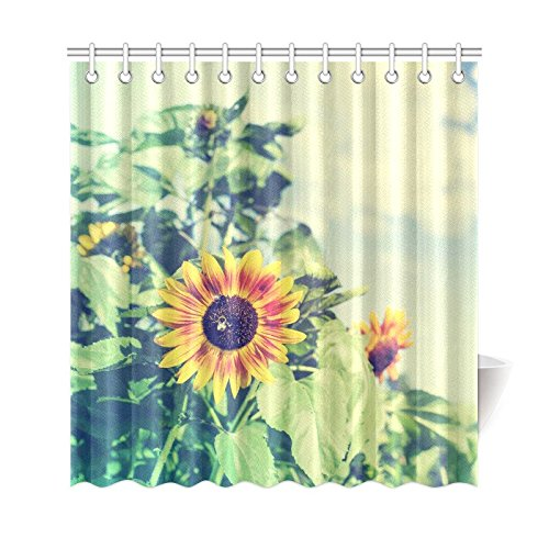 GCKG Summer Landscape Shower Curtain Sunflower Artwork Polyester Fabric Bathroom Sets 66x72 Inches