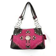 Accessories Plus DC-893 HPK Handbag with Stacked Cross Design, Hot Pink