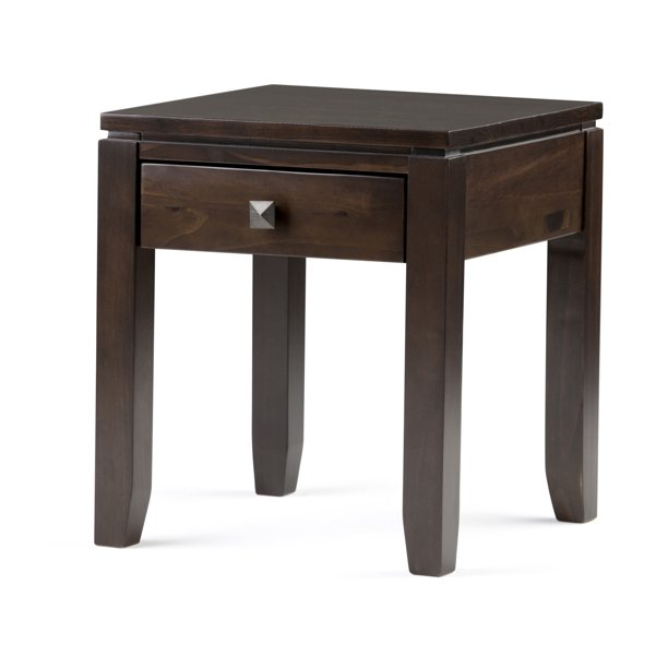 Brooklyn + Max City Solid Wood 18 inch Wide Square Contemporary End Side Table in Mahogany Brown