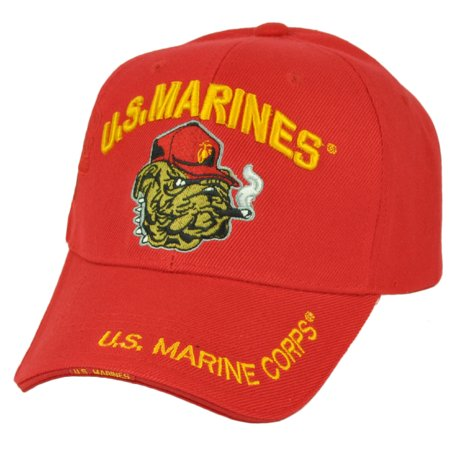 U.S United States Marines Corps Bulldog Mascot Red Military Adjustable Hat Cap