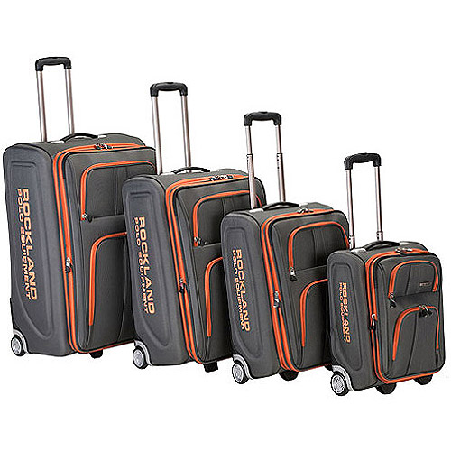 Rockland Luggage Varsity Polo Equipment 4 Piece Luggage Set, Charcoal