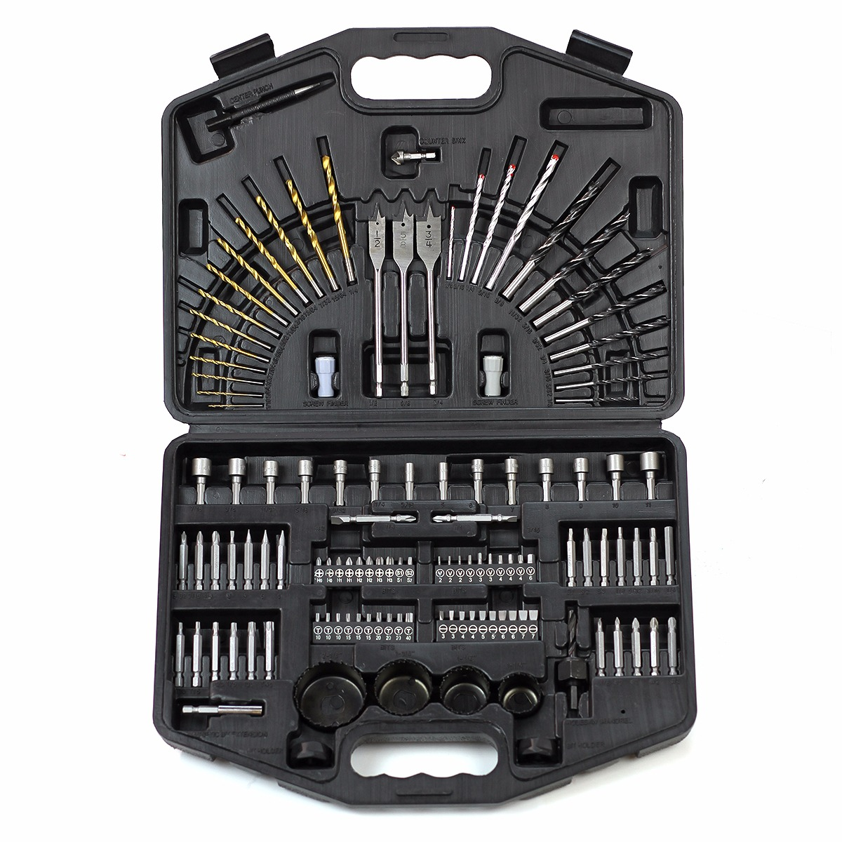 Master Wood Masonry HSS Drill Bits Nut Drivers Hole Saws Tool Set, 125PC
