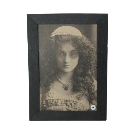 Haunted Young Lady Animated Vintage Frame Halloween Wall Decor - Halloween Bake Sale Signs