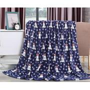 "Let It Snow Collection Holiday Microfleece Throw Blanket (50"" x 60"") - Polar Bear"