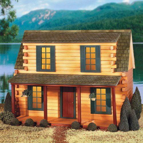 Real Good Toys Finished Adirondack Log Cabin Dollhouse