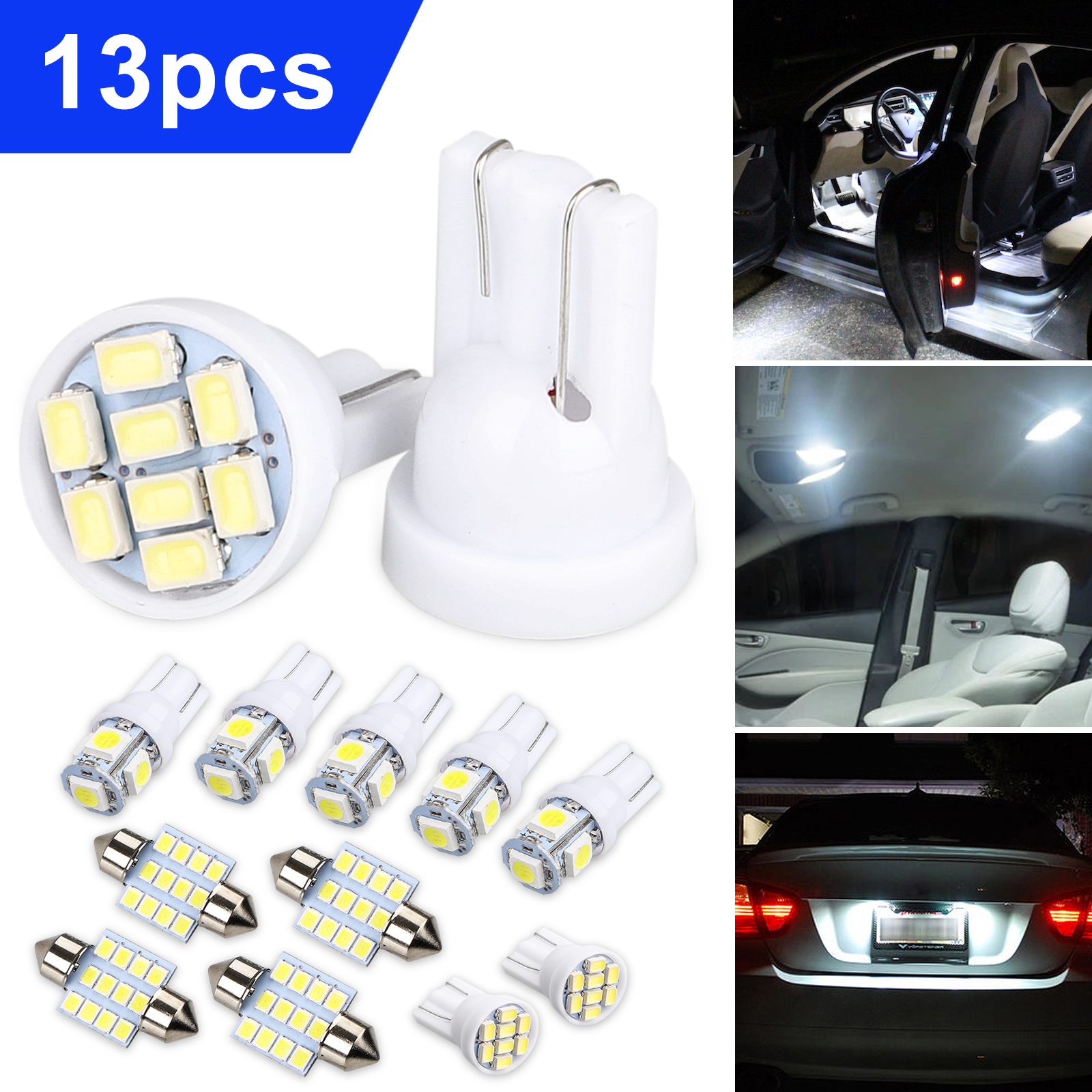 13Pcs White LED Package Interior For Dome Map License Lights T10/&31mm Lamp Bulb