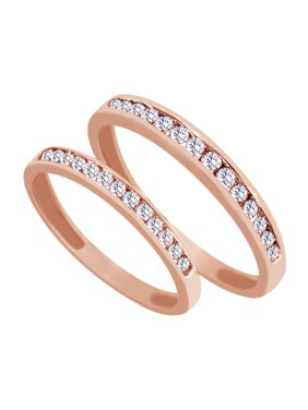 Product Image White Natural Diamond His And Hers Wedding Band Set In 14k Rose Gold 0 67 Cttw