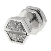 The Mano - Men's Stainless Steel 9mm Single Hex .07 cttw. Diamonds Earring by Metro
