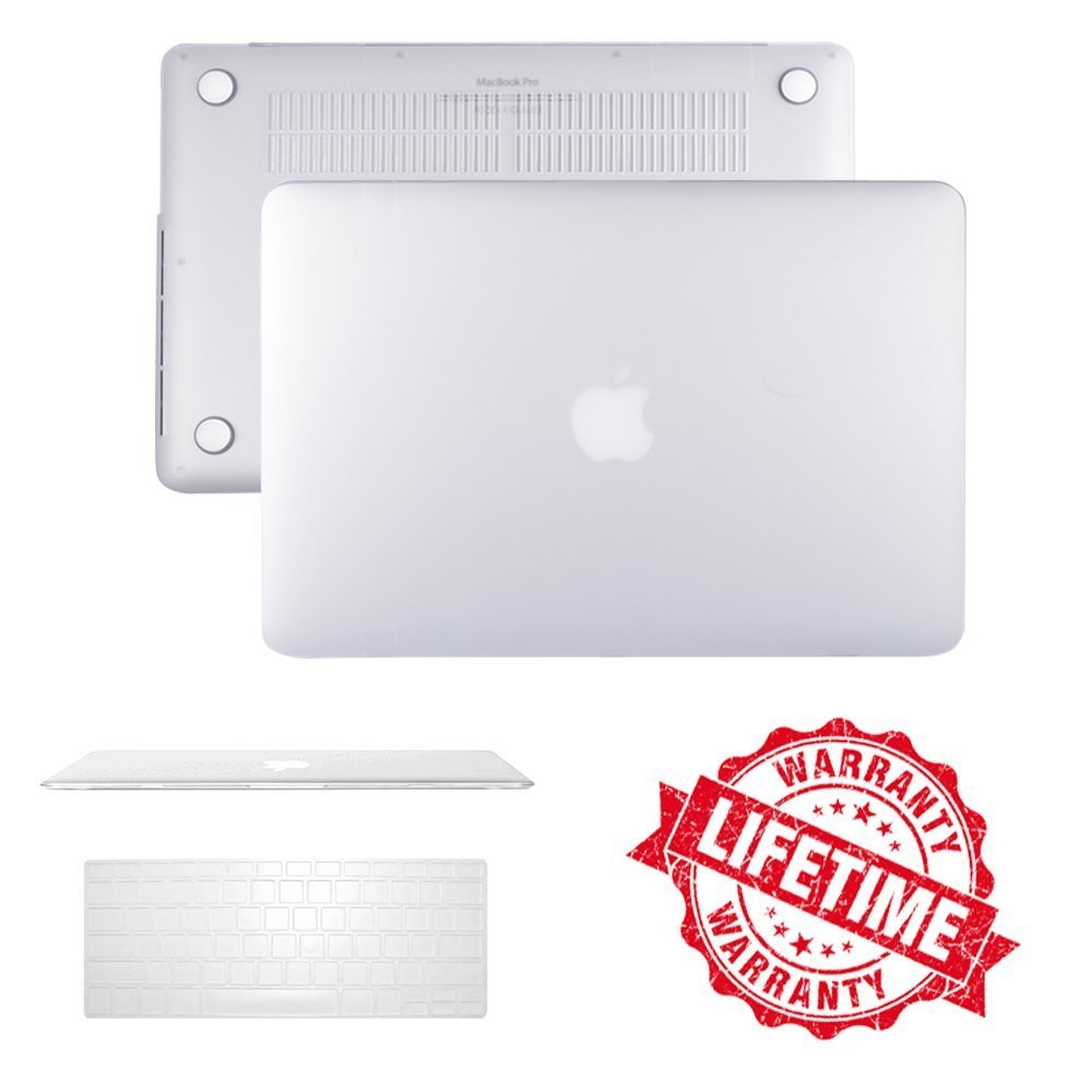 "iClover Macbook Air 13"" Case Cover Ultra Slim and Light Weight Rubberized Matte Hard Protective Case Cover & Keyboard Cover for Macbook Air 13.3""(A1466/A1369)-White"