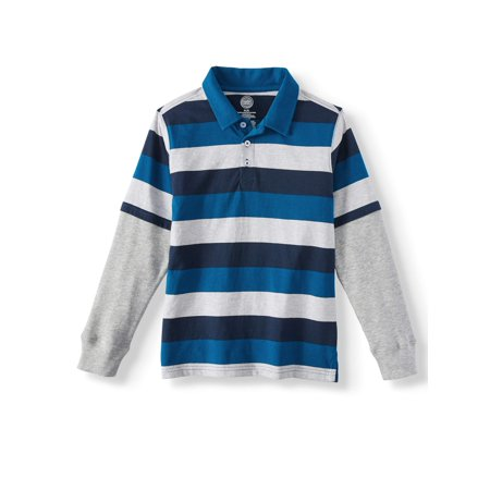 cabd11f0 Wonder Nation - Striped Rugby Polos (Little Boys & Big Boys) - Walmart.com
