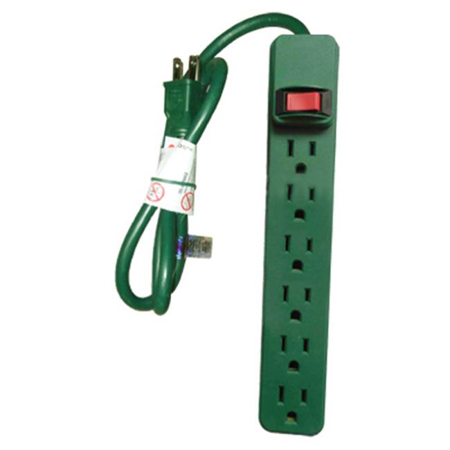 PS-669G Green 6 Outlet Plastic Housing Power Strip