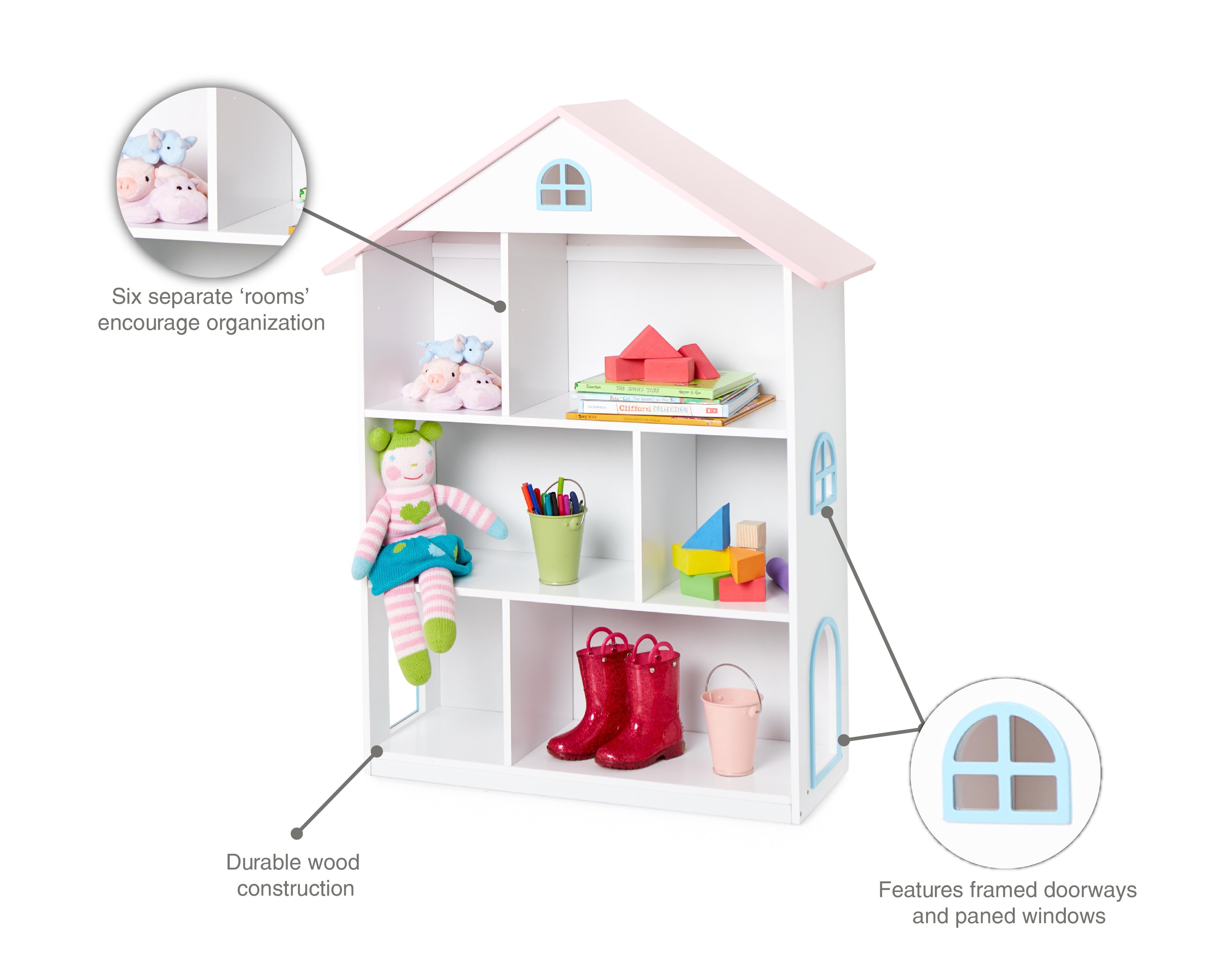 Wildkin Kids Dollhouse Bookshelf 3 Tier White Or Gray