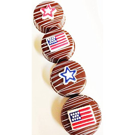 Patriotic Chocolate Dipped Oreo Cookies (12) Gift Boxed Fourth of July Gifts