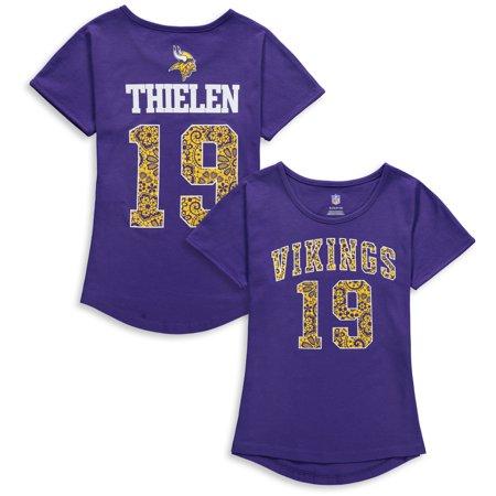 sports shoes 11762 636e0 Adam Thielen Minnesota Vikings Girls Youth Dolman Lace Player Name & Number  T-Shirt - Purple - Walmart.com