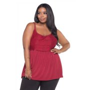 Plus Size Floral Lace Keyhole Back Sexy Cami Babydoll Lingerie For Women - Red