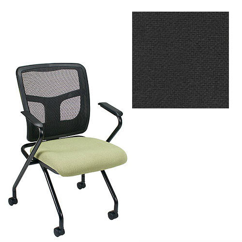 Office Master Yes Collection YS70N Ergonomic Nesting Chair - Fixed Standard Armrests - Black Mesh Back - Grade 1 Fabric - Basic Black 1020 PLUS Free Ergonomics eBook