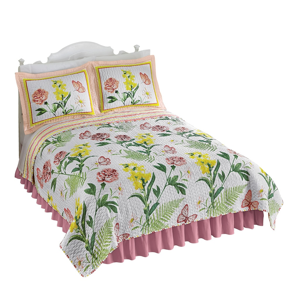 Butterfly Botanical Floral Reversible Lightweight Quilt, Twin, Pink Flowers