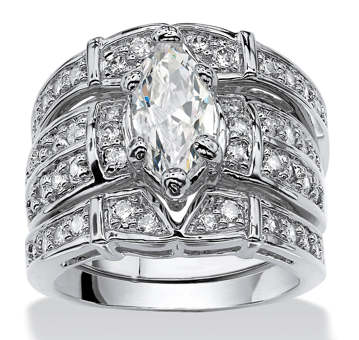 3.05 TCW Marquise-Cut Cubic Zirconia Silvertone Bridal Engagement Ring Wedding Band Set