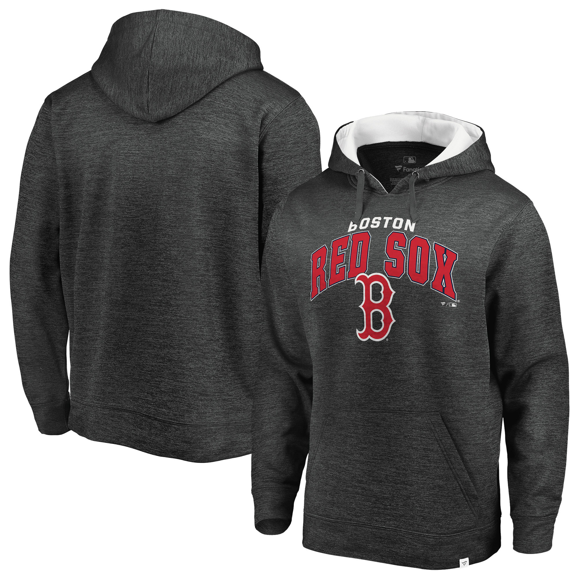 Boston Red Sox Fanatics Branded Steady Fleece Pullover Hoodie - Gray/White