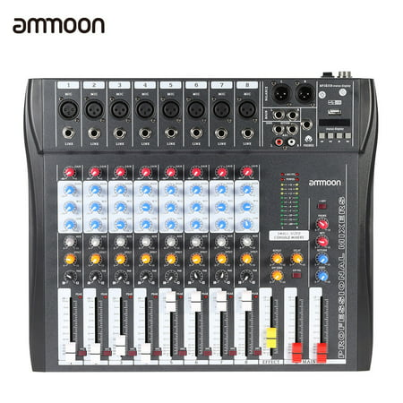 ammoon 8 Channel Digtal Mic Line Audio Mixing Mixer Console with 48V Phantom Power for Recording DJ Stage Karaoke Music