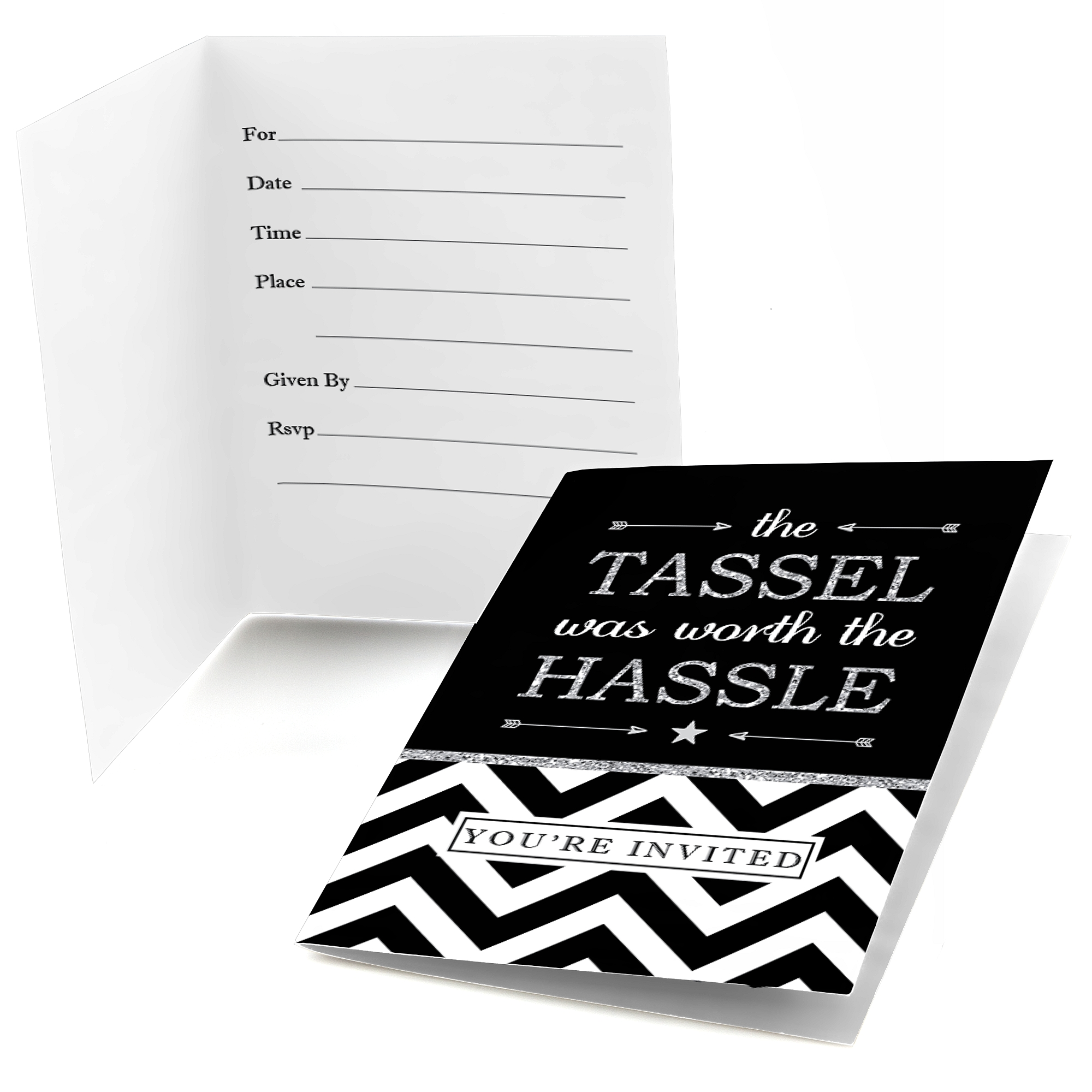 Silver Tassel Worth The Hassle - Fill In Graduation Party Invitations (8 count)