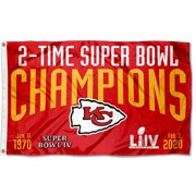 KC Chiefs 2 Time 2x Super Bowl Champions 3' x 5' Banner Flag