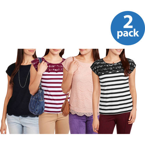 Faded Glory Women's Lace Front T-shirt, 2 pack