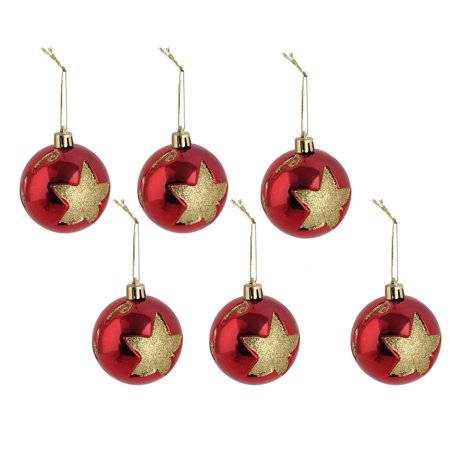Festive Patterns - Party Christmas Star Pattern Artificial Collection Festive Hanging Ball 6 PCS