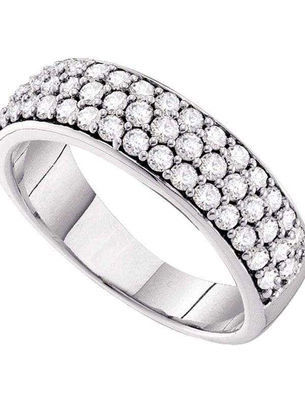 10K Yellow Gold Womens Round Cut Diamond Pave Set Wedding band Ring 3.5 MM