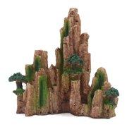 Fish Tank Decoration Aqua Landscape Artificial Mountain with green grass