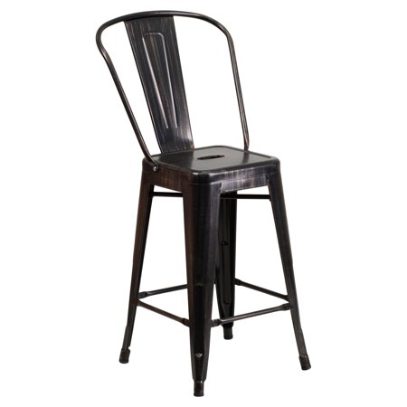 Flash Furniture 24 High Black Antique Gold Metal Indoor Outdoor Counter Height Stool With Back