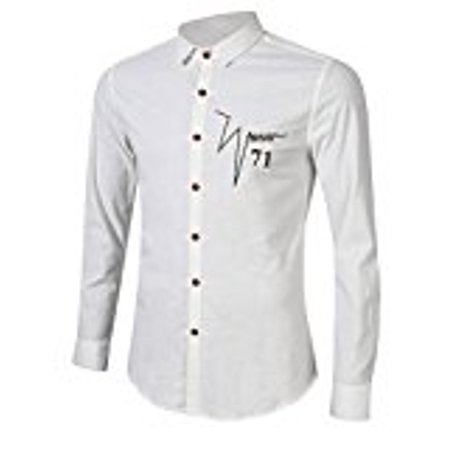 Yong Horse Mens Simple Embroidery Solid Color Long Sleeve Shirt White Size M Colorwhite Sizexxl