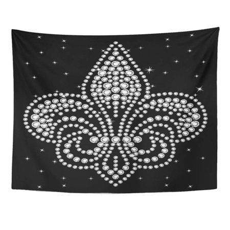REFRED Rhinestone Applique Crystal Studs Embellishment for Beautiful Fleur De Lis Symbol Wall Art Hanging Tapestry Home Decor for Living Room Bedroom Dorm 51x60 inch